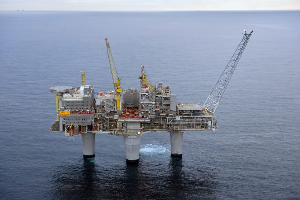 Calm waters: Statoil's The Troll A oil platform in Norwegian waters. Photo: Troll A, Oil Platform, Norway by Harald Pettersen for Statoil.