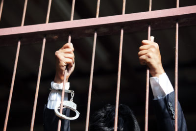Corporate crime, businessman behind bars, criminal law