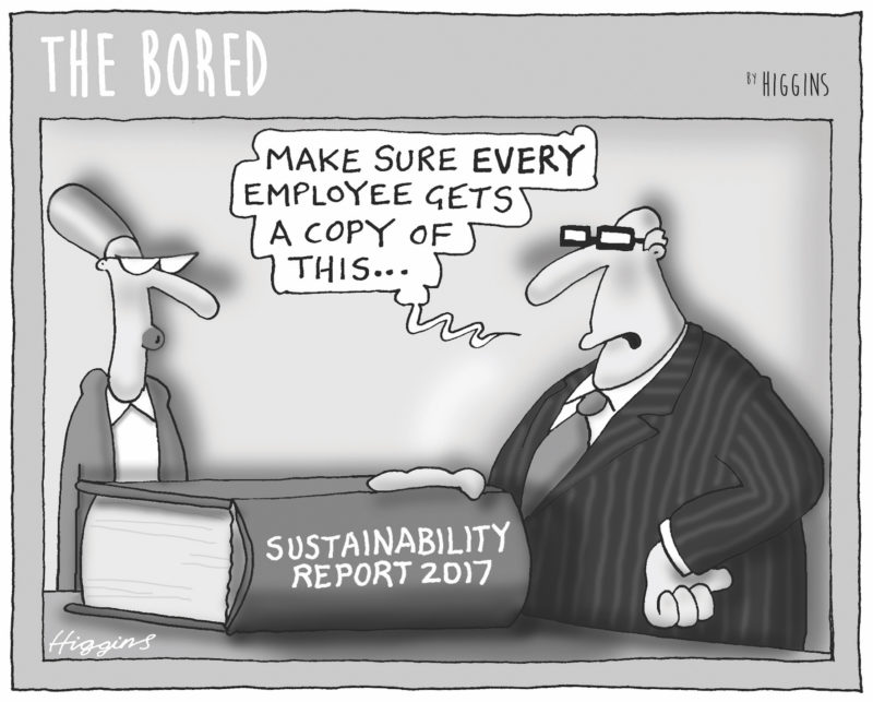 Higgins, The Bored, sustainability