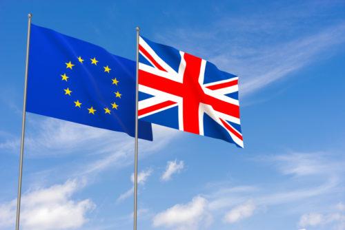 EU flag, British flag