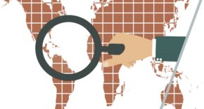 globe, world, magnifying glass