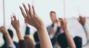 shareholder, vote, voting, raised hands