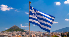 Greek flag, Athens, Greece