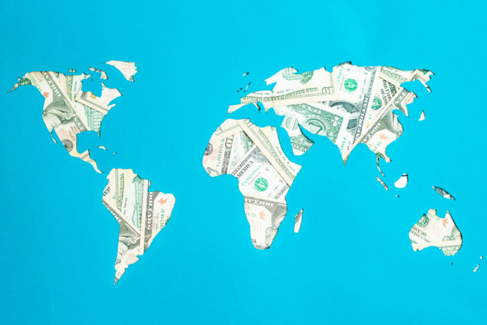 world map representing new capitalism, bail-outs