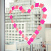 heart on an office window, workplace relationships