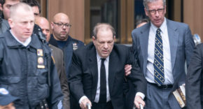 Harvey Weinstein leaves court during his trial
