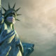 Statue of liberty with mask against Covid-19