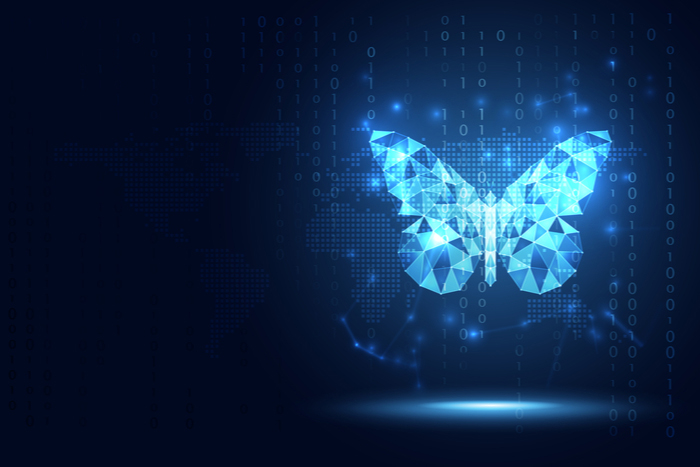 AI digital transformation of a butterfly