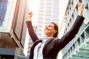 Woman celebrating success
