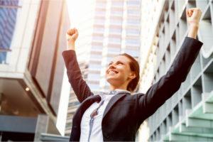 Woman celebrating success