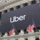 Uber sign on the New York Stock Exchange