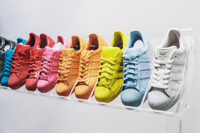 Row of Adidas trainers
