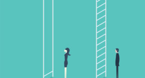 woman and man scaling ladders with different sized rungs