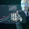 AI robot director looking at graph