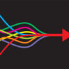 Coloured lines unite to form red arrow