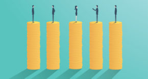 CEOs standing on equal pay piles