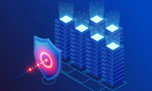 Cybersecurity shield protecting servers from cyber-attack