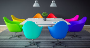 Boardroom with modern chairs