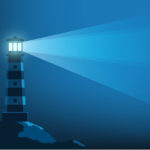 Lighthouse shining in the darkness