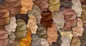 Paper faces with different skin tones