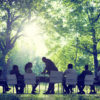 Board meeting in a forest