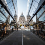 St Paul's Cathedral reflected in the windows of LandSec property One New Change