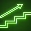 Neon green arrow over staircase