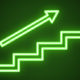 Neon green arrow over staircase