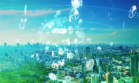 ESG strategy icons over green cityscape