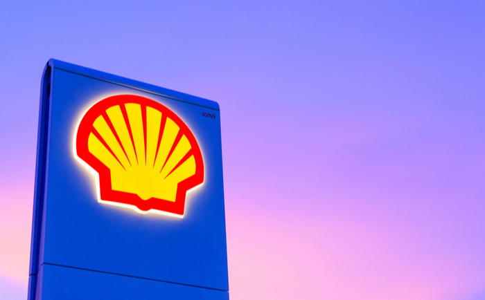 Shell logo outside a petrol station