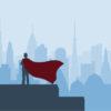 Superhero CEO overlooking the city