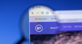Close-up of BT logo on its website
