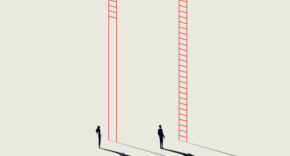 Women executive with missing rungs on the leadership ladder