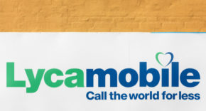 Lycamobile logo on a yellow wall