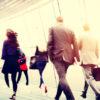 Employees walking through the city