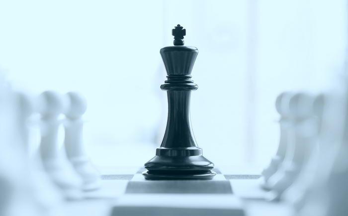 King chess piece and pawns