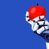 Robot holding an apple