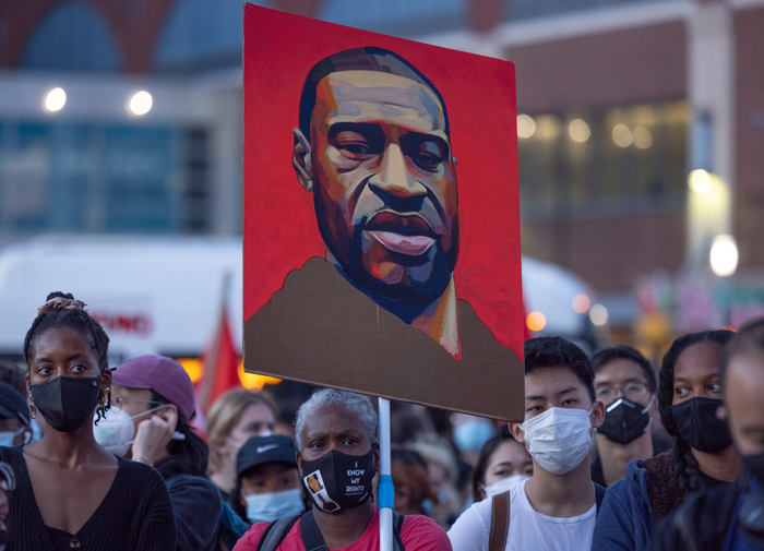 Portrait of George Floyd at BLM protest