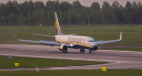 Ryanair plane in Vilnius, Lithuania
