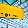 Arrivals sign at Heathrow Airport