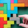 Colourful wooden puzzle pieces