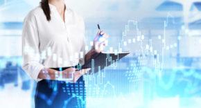 Female CFO with financial data