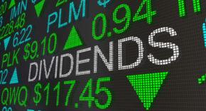Dividends on stock market ticker