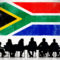 Business meeting under a South African flag